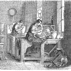 Engraving of Roughing Out and Throwing of Porcelain Paste