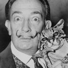 Salvador Dalí with Ocelot and Cane (Roger Higgins)