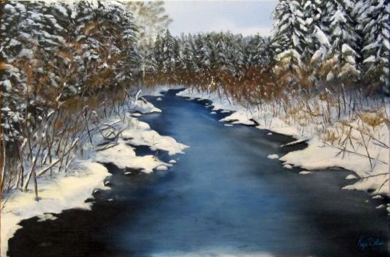 Oil Painting of Portage Brook early fall